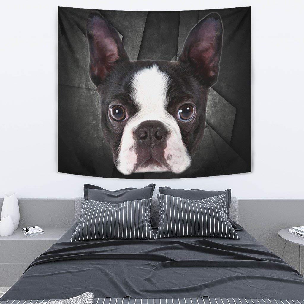 Boston Terrier On Black Print Tapestry