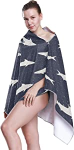 ATONO Cartoon Sharks Repeat Beach Towels Ultra Absorbent Quick Drying Sand Free Ocersize Towel 63x31.5 Inch for Kids Boys Girls Adults Use for Sports Bath Spa Pool Swim Hotel