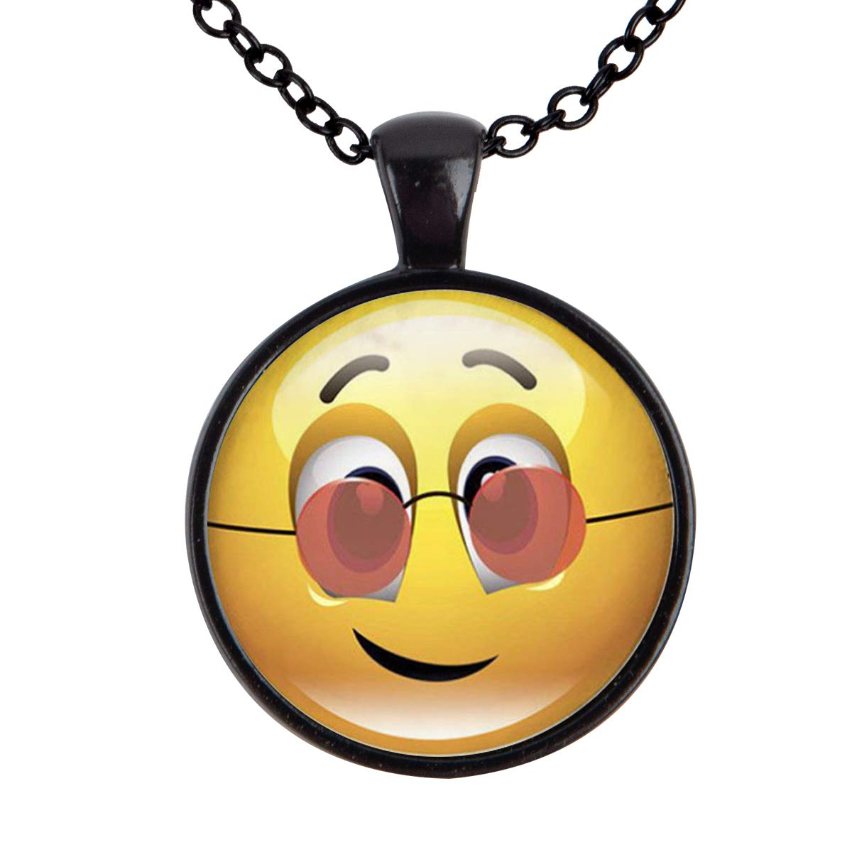 Family Decor Emoji Face Naughty Pendant Necklace Cabochon Glass Vintage Bronze Chain Necklace Jewelry Handmade