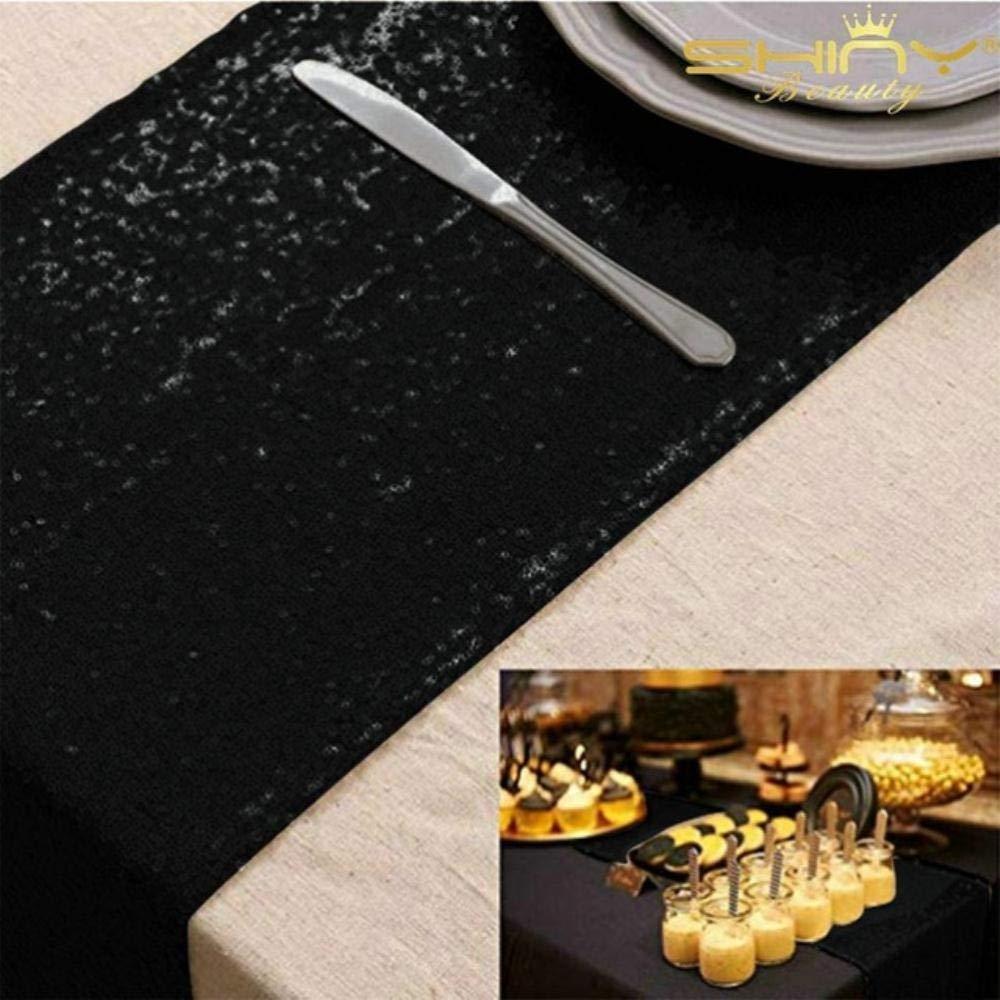 Blu Acqua 12x72in-30x180cm LINCH Runner da tavola con Paillettes Dorate di nozzePoliera/// Tessuto di Nylon Hotel Tovaglia da Hotel Icona Dorata Decorazione Banchetto