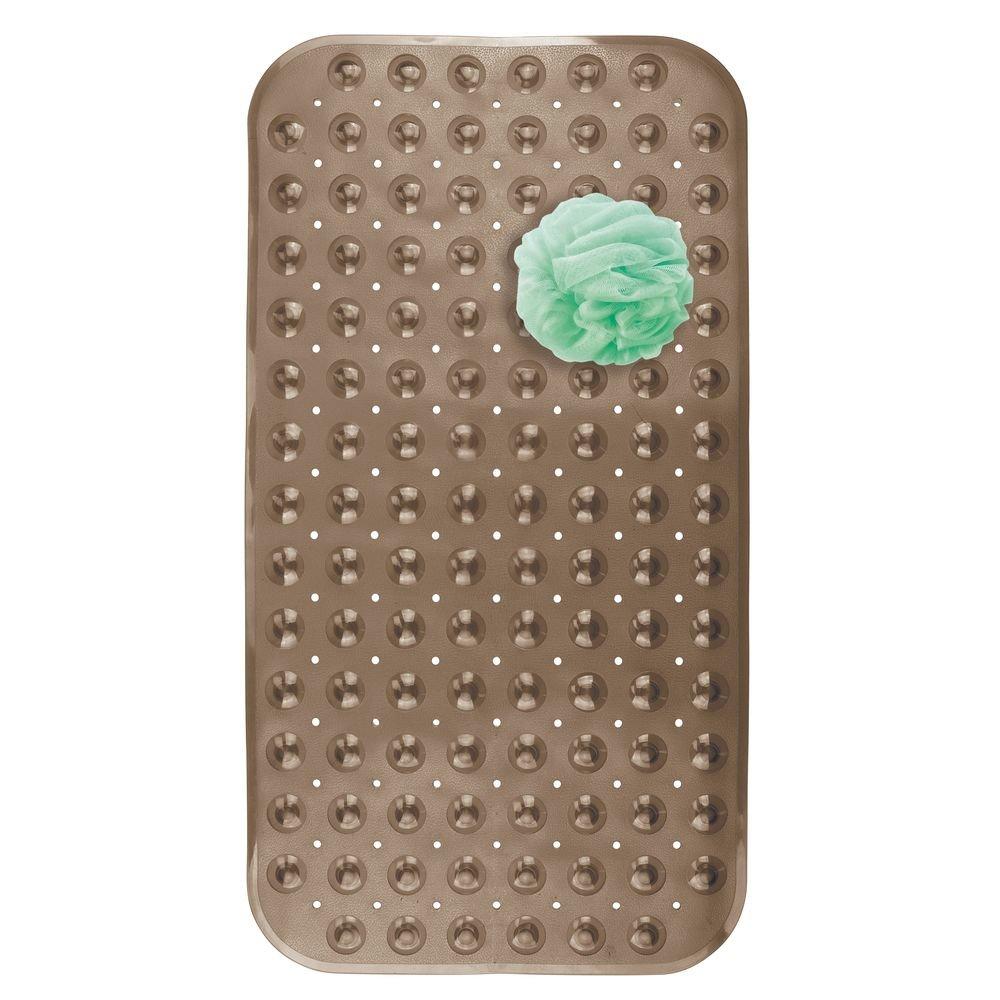 mDesign Alfombrilla para bañera – Tapete antideslizante de plástico PVC con diseño punteado – Alfombra de ducha y bañera con ventosas de fijación para evitar deslizamientos – gris MetroDecor