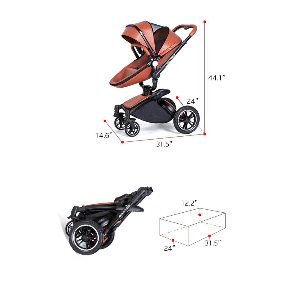 SpringBuds Shock-resistant Luxury High Landscape Folding Aluminum Alloy Frame Baby Stroller Infant Toddler Seat and Bassinet Combo-White by Springbuds (Image #4)