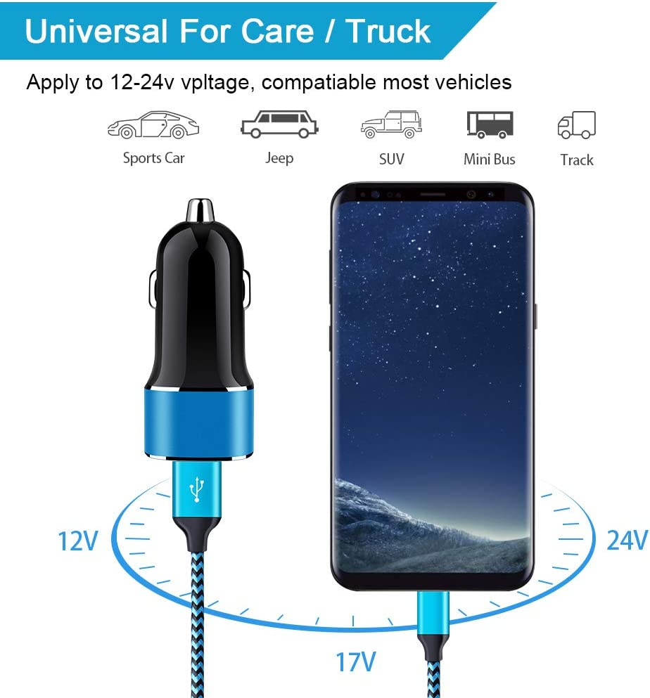 24W Dual Port Quick Car Charger 4.8A Car Adapter with Braided 6ft Type C Fast Charging Cable Compatible with Samsung Galaxy A10e//A20e//A20//A50//A70//A80 S10e S10 S9 S8 Plus Note 10//9//8 USB C Car Charger