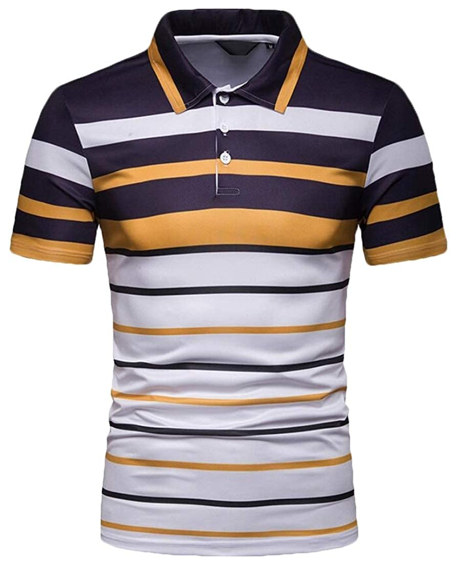CBTLVSN Mens Stripe Slim Fit Fashion Short Sleeve T-Shirt Breathable Polo Shirt