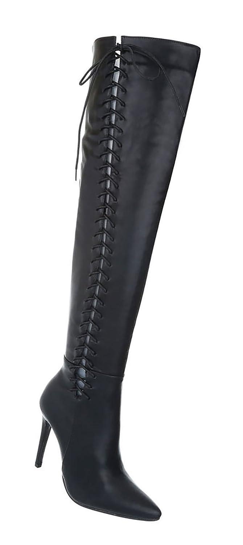 Damen Schuhe Overknee Stiefel Stiefel Overknee High Heels Schwarz e8488d