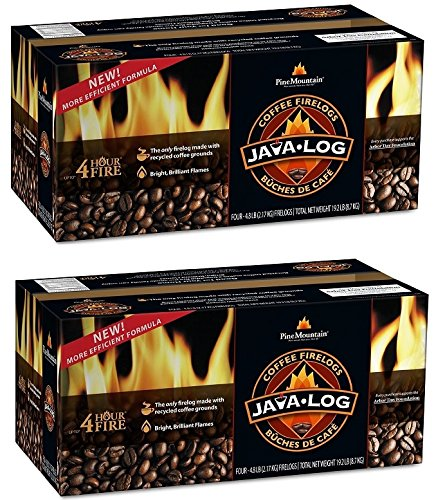 Pine Mountain Java-Log Firelog, 4-Hour Burn Time, Recycled Coffee Grounds, 4 Logs (2)