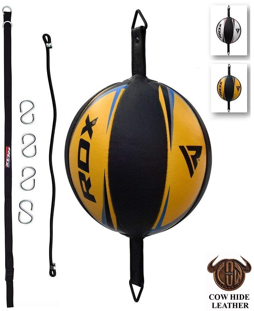 RDX Double End Speed Ball Leather Boxing Double End Speed Ball Bag MMA Double End Dodge Ball Punching Training Floor to Ceiling Rope Workout by RDX