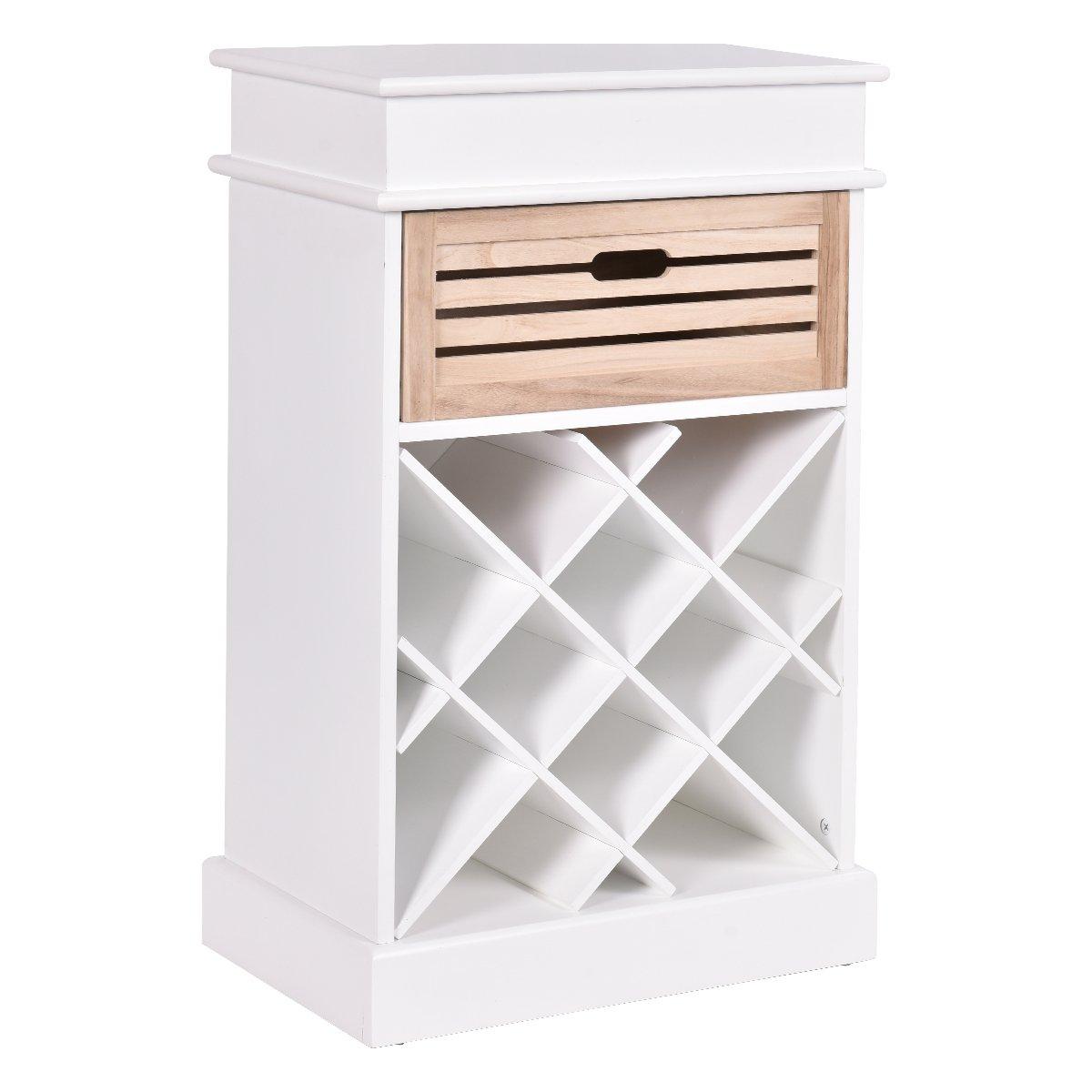 Giantex 12 Bottles Wine Rack Cabinet Storage Display Shelves Wood Kitchen Decor White (White)