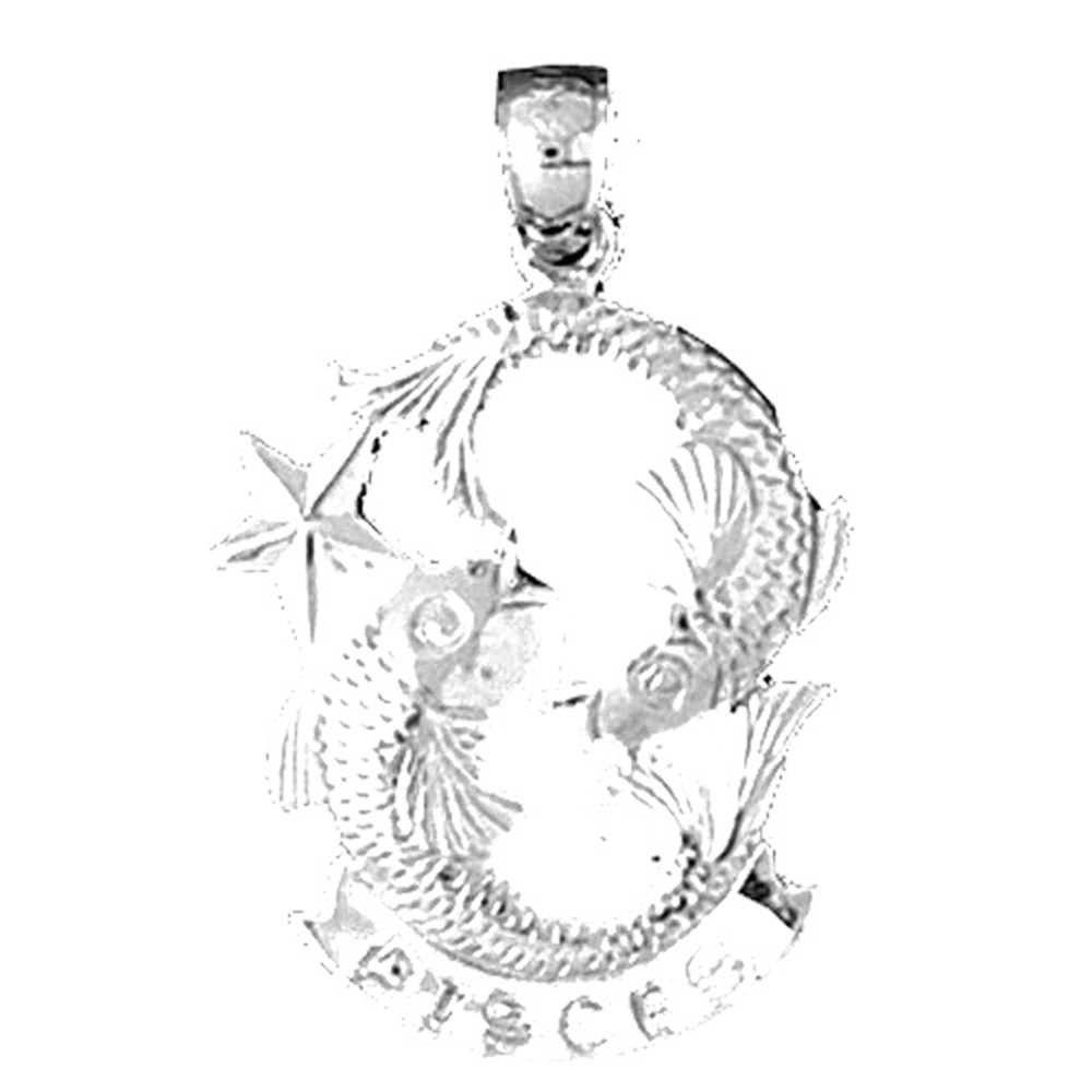 Pisces Necklace Jewels Obsession Zodiac Pisces Pendant with 18 Necklace Rhodium-plated 925 Silver Zodiac