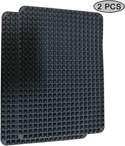 Silicone Baking Mat,Non-stick Pastry with Fat Reducing Healthy Cooking Heat-Resistant for Oven Grilling BBQ 15.1 x 10.6Inch,2 Pcs (Black)