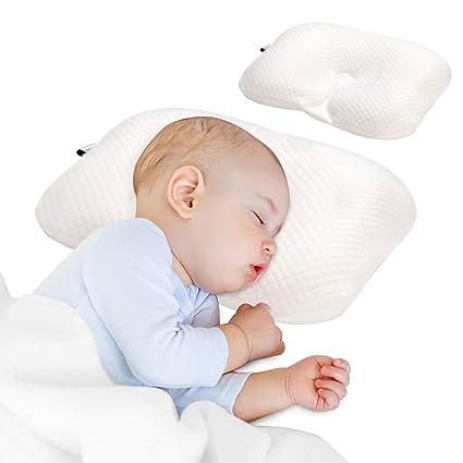 Orthop/ädisches Babykissen gegen Plattkopf mit 2 Wechselbare Bez/ügen Babykopfkissen zur Vorsorge der Plagiozephalie Blau