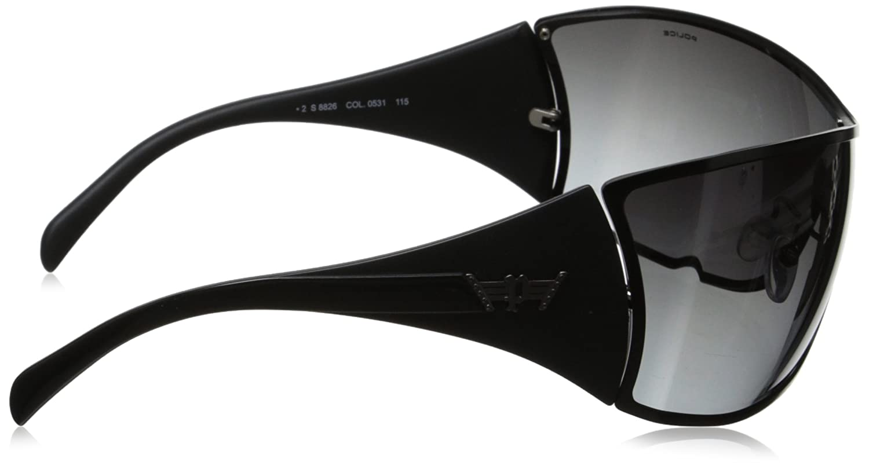 4ec0ab802c6 POLICE S8826 0531 Mens   Womens WRAPAROUND VISOR Sunglasses BLACK MATTE  BLACK GREY GRADIENT  Amazon.co.uk  Clothing