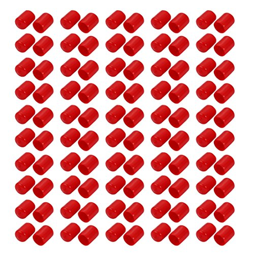 uxcell 100pcs 13mm Dia Red Rubber Thread Round Cabinet Chair Leg Insert Cover Protector by uxcell