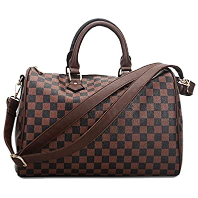 0a1aa69b44 Ladies Designer Style Check Shoulder Bags - Faux Leather Tote - Bucket Gym  Weekend Duffel Travel