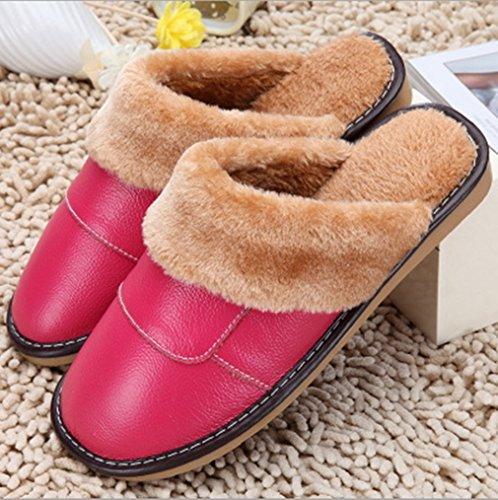 Samsay Unisexe En Cuir Véritable Maison Pantoufles Chaudes En Peluche Mollet Doublé Sandales Chaussures Rose
