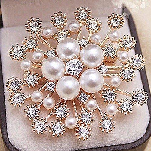 Jewby Fashionable Brooch Pins for Women Bouquet Flower Wedding Created Crystal Brooch