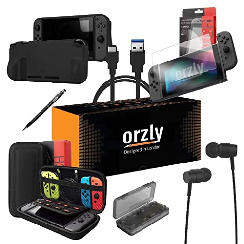 ORZLY® Switch Accessories, Essentials Pack for Nintendo Switch (Bundle includes: Glass Screen Protectors, USB Charging Cable, Console Pouch, Cartridge Case, Comfort Grip Case, Headphones) - BLACK