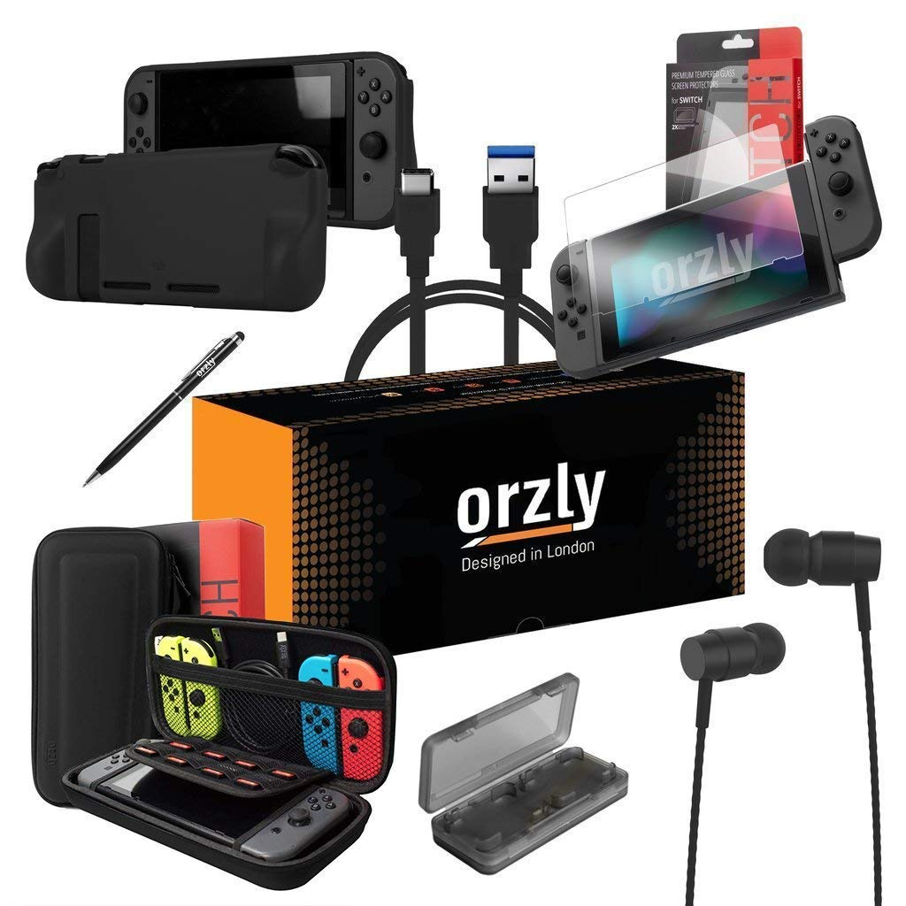 ORZLY® Switch Accessories, Essentials Pack for Nintendo Switch (Bundle includes: Glass Screen Protectors, USB Charging Cable, Console Pouch, Cartridge Case, Comfort Grip Case, Headphones) - BLACK product image