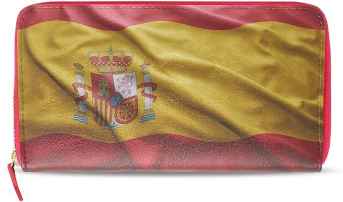 Cartera de Piel con Bandera de España Envejecida para Mujer ...