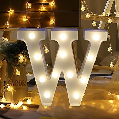 erthome 26 English Alphabet Lights LED Light Up White Plastic Letters Standing Hanging AZ Home Decor Wall Light (W)