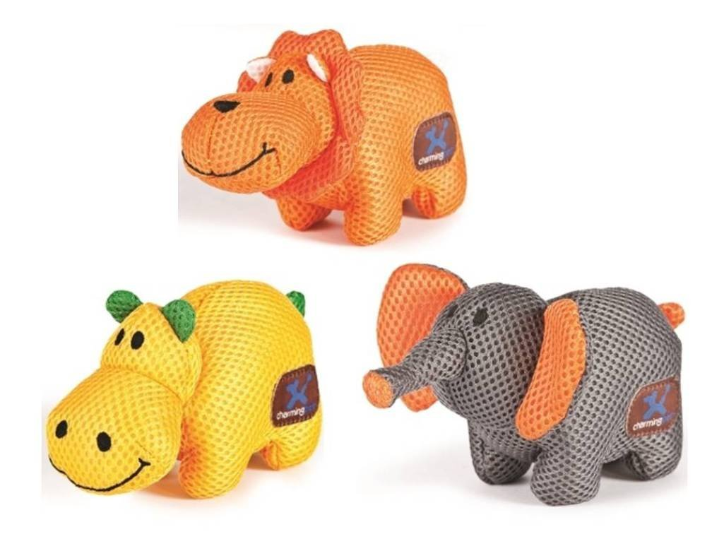 Charming Pet Mesh Lil' Roamers Small Squeaker Toy 3 Shape Variety Bundle  (1) Charming Hippo, (1) Charming Lion, and (1) Charming Elephant