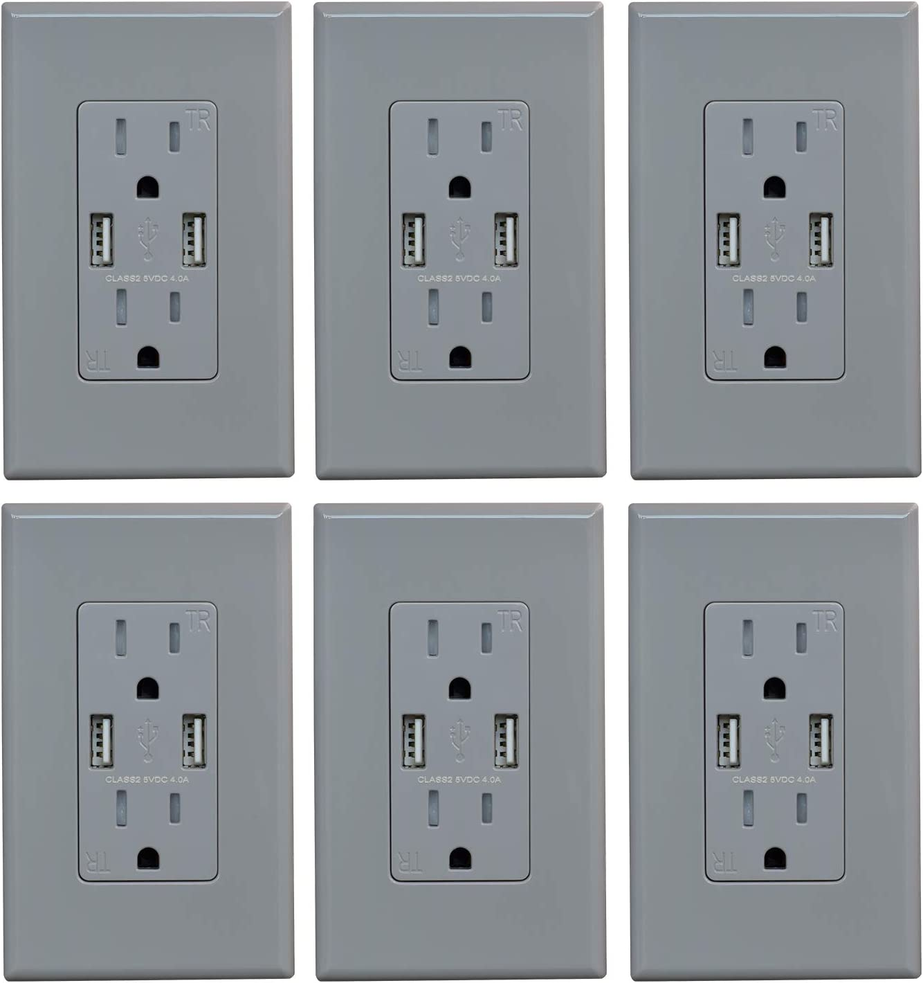 (6 Pack, Glossy Gray) ELEGRP USB Outlet Wall Charger, Dual High Speed 4.0 Amp USB Ports with Smart Chip, 15 Amp Duplex Tamper Resistant Receptacle Plug NEMA 5-15R, Wall Plate Included, UL Listed - -