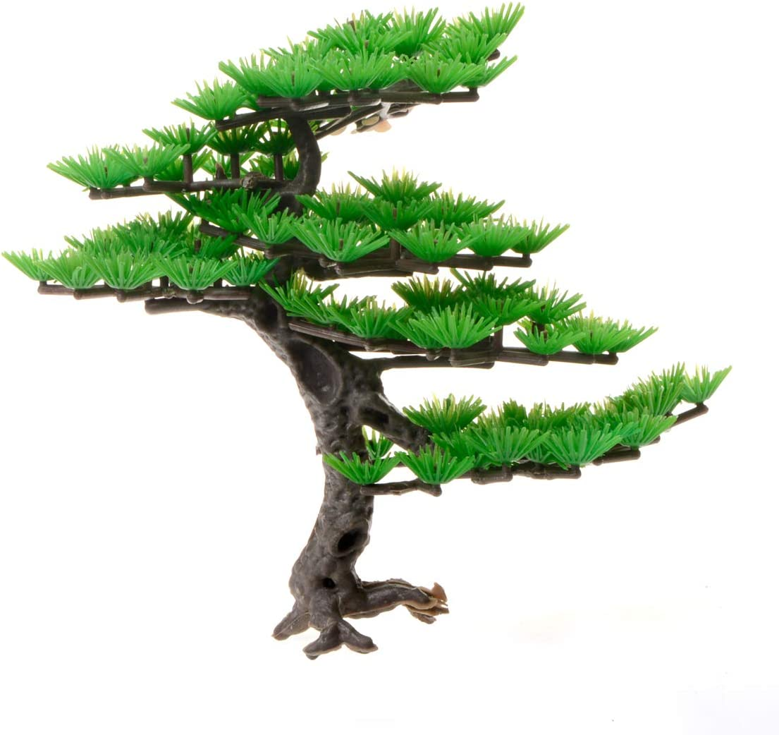 "Saim Artificial Pine Tree Plastic Plant Decor for Aquarium Fish Tank Bonsai Ornament Green 5.9"" Height"