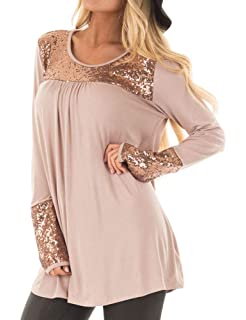 88fd66cf1c338 WLLW Women Ruched Round Neck Long Sleeve Sequin Spliced Tunic Shirt Tops  Blouse