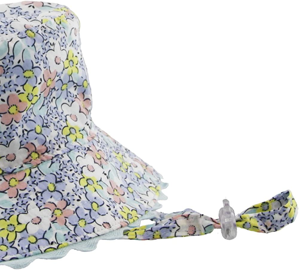 Baby Girls Reversible Sun Hat Bucket Style In Floral Print