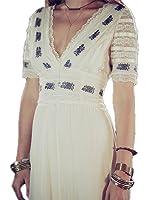 DaveDu NEW bohemian vestido maxi das mulheres Com Decote Em V bordado teste padrão de flor