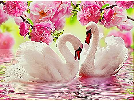 Diamonds Embroidery Swans Round Diamond Painting Stitch Diamond Mosaic DIY 5D