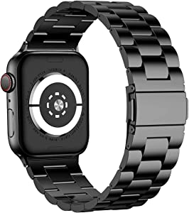iiteeology Compatible with Apple Watch Band 42mm 44mm, Stainless Steel iWatch Band Replacement Strap for iWatch SE & Series 6 5 4 3 2 1 - Black