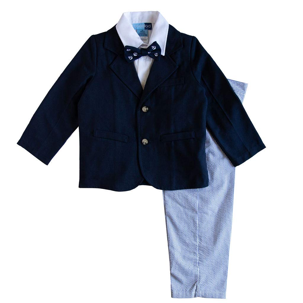 Good Lad Toddler thur 4/7 Boys Navy Poly Rayon Jacket and Blue Seersucker Pant 4 Piece Suit (7)