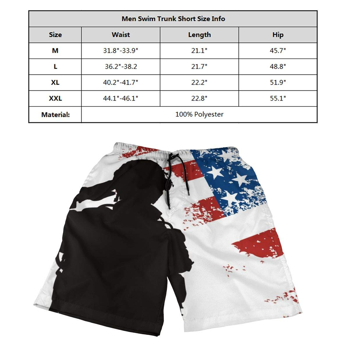 Saluting US Soldier Mens 3D Printed Board Shorts Beach Shorts Swim Trunk