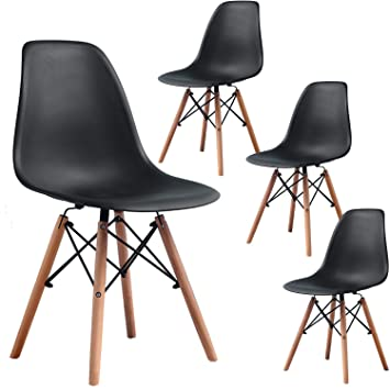Groovy Fdw Dining Chairs Dining Room Chairs Kitchen Chairs Eames Chair Set Of 4 Mid Century Modern Chair Plastic Dsw Chair For Home Furnitureblack Creativecarmelina Interior Chair Design Creativecarmelinacom