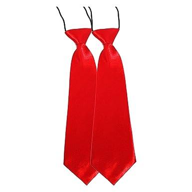 Kids Elastic Satin Neck Tie for School // Prom // Wedding Red