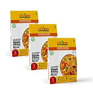 The Indian Kitchen Foods Co. Mashed Cottage Cheese and Vegetable (Paneer Bhurji) - Freeze Dried Gluten-Free Gourmet Indian Entree Ready in 5 min Vegetarian Meal - Rehydrated 7.50 oz Pack of 3
