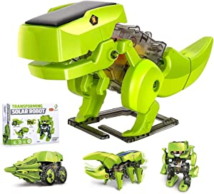 OBES 4 in 1 Dinosaurs Solar Robot,STEM Projects for Kids Ages 8-12, Coding Robots Learning Science Kits DIY Building Gift for Boys Girls