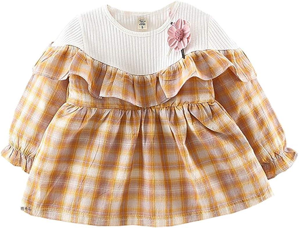 AIKSSOO Baby Girls Long Sleeve Dress Retro Ruffle Plaid Dress High Waist Swing Dress