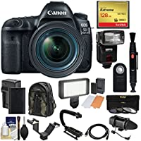 Canon EOS 5D Mark IV 4K Wi-Fi Digital SLR Camera & 24-70mm f/4L IS USM Lens + 128GB CF Card + Battery & Charger + Backpack + Flash + LED Light + Microphone Kit