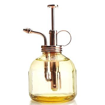 Purismo Estilo Planta Señor - Botella de vidrio color ámbar y rociador de latón (Oro