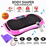 Reliancer Built-in Music Player Fitness Vibration Platform Whole Full Body Shaped Crazy Fit Plate Massage Workout Trainer Exercise Machine Plate w/Integrated USB Port&LED Light (W/Music-Pink)