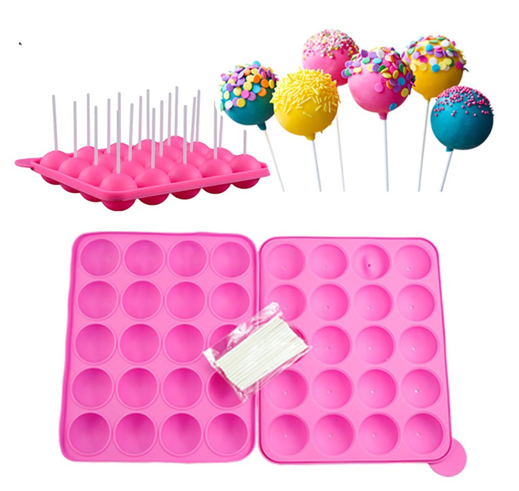 Kisweet 2 Sets 12-Capacity Silicone Lollipop Mold 12-Cavity Round Chocolate Hard Candy Cake Pop Mold