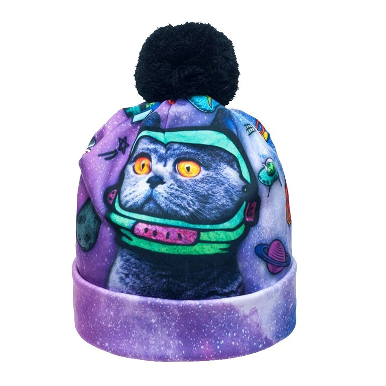 CHIC Women Men 3D Beanie Cap Unisex Galaxy Cat Print Fashion Winter Hat