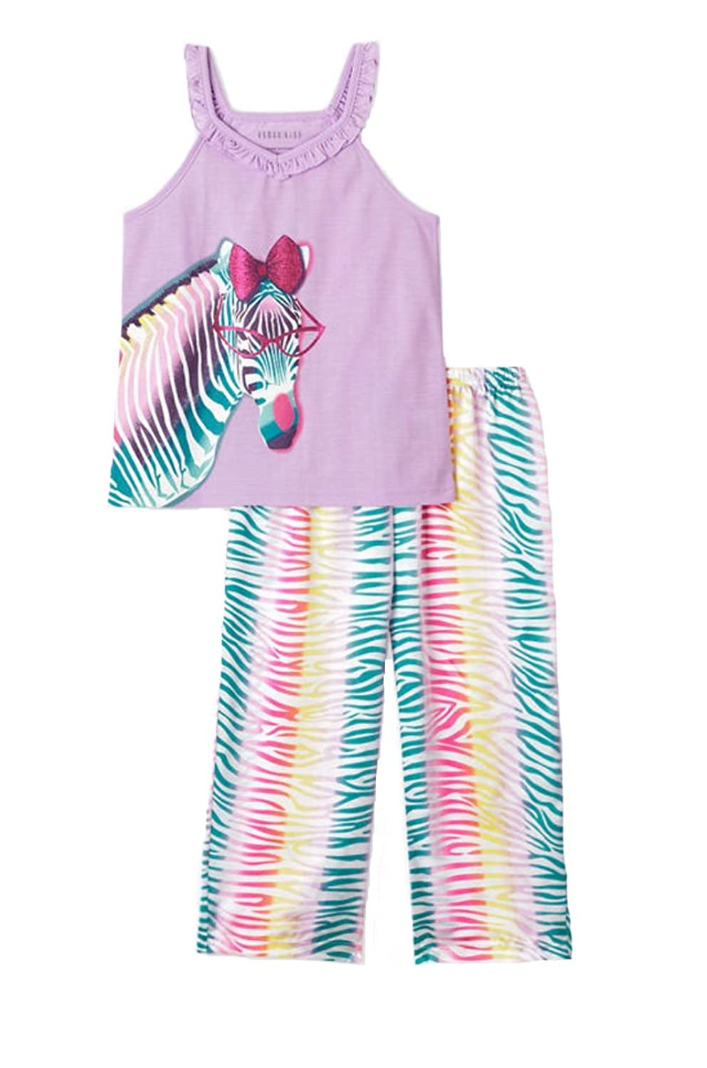 Komar Kids Girl's Zebra Tank Silky Rainbow Stripe Pants Pajama Set