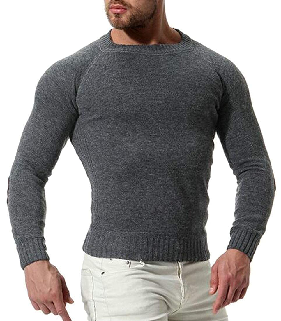 XiaoTianXinMen XTX Mens Popular Stretchy Raglan Sleeve Crew Neck Elbow Patch Knitted Pullover Jumper Sweater