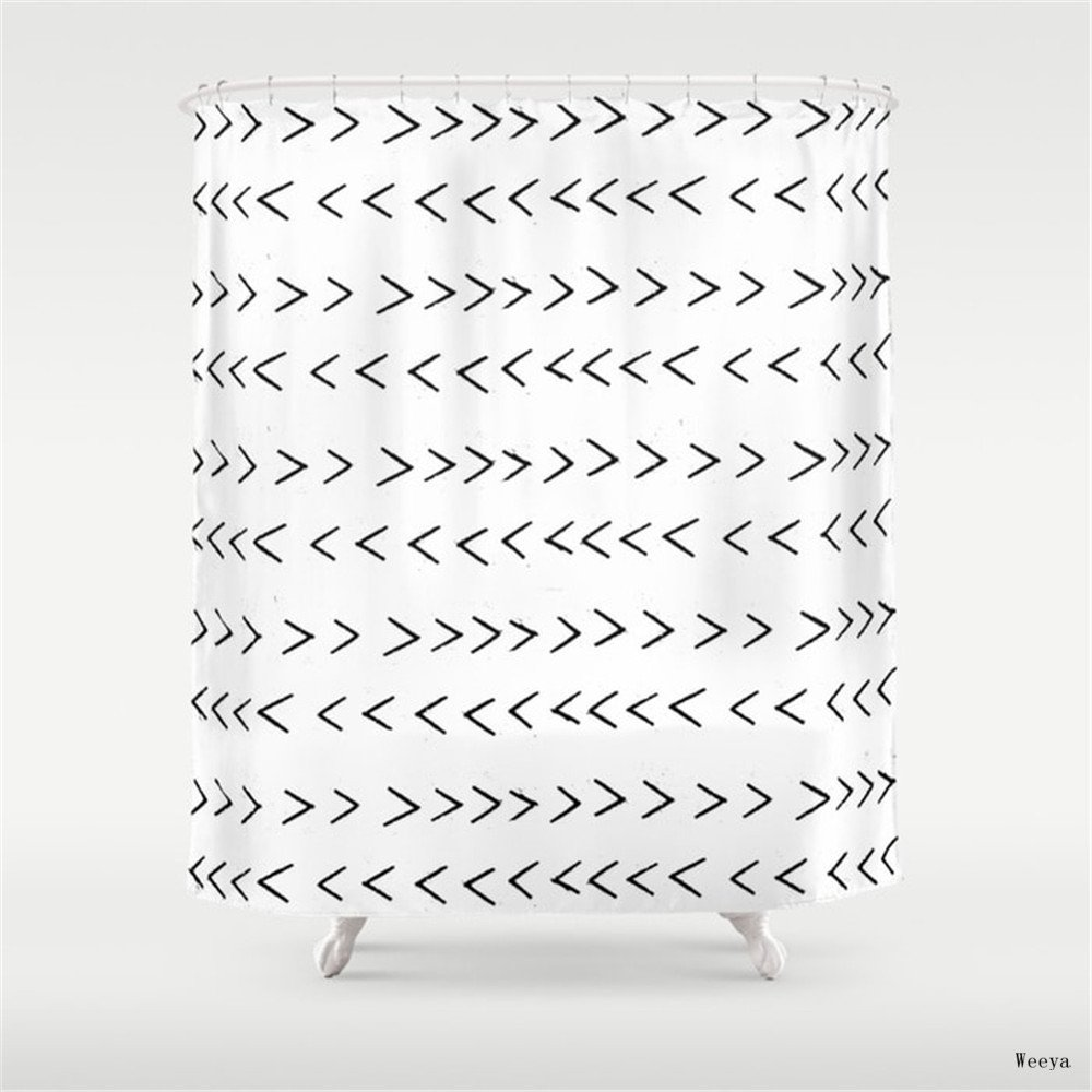Weeya linocut Mudcloth grey and white minimal modern chevron arrows pattern gifts dorm college decor Shower Curtain 60 x 72 inch