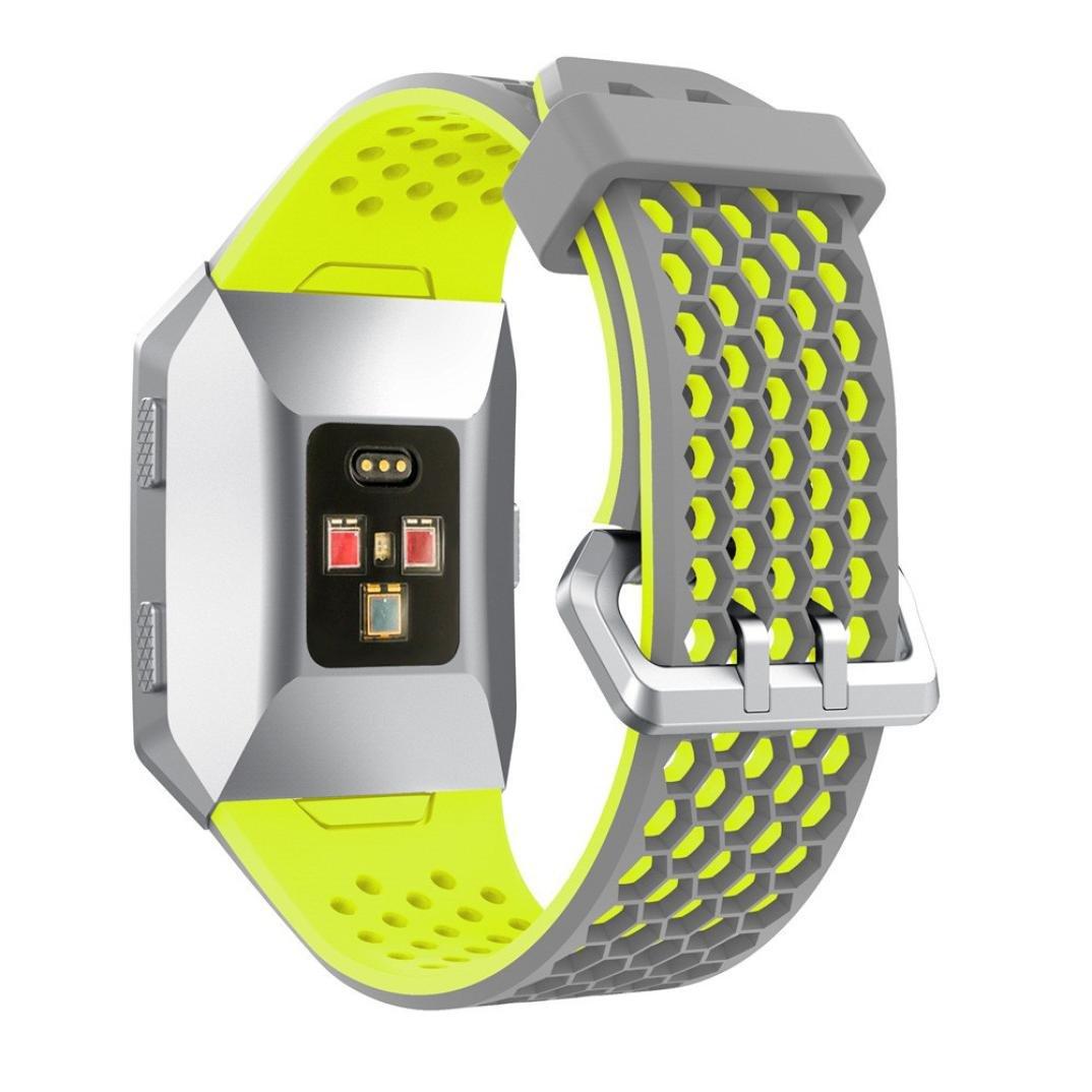 時計バンドアクセサリー、hp95 ( TM )ファッション軽量メッシュシリコン穴あきスポーツバンドfor Fitbit Ionic B0769G7C7J グリーン