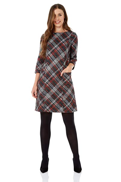 30cfcdfc73 Roman Originals Women Check Shift Dress - Ladies Plaid Tartan Checkered  Print Winter Dresses - Smart Work Casual Comfortable Round Neck Tunic 3 4  Sleeve ...
