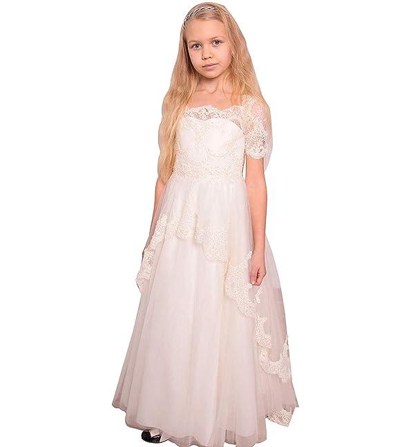 MerryGirl Vestido de niña de Las Flores de Encaje Boho Mangas Cortas Vestidos de comunión de la Longitud del Piso rústico: Amazon.es: Ropa y accesorios